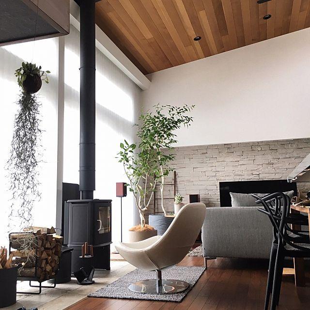 1go-Sanさんの、Lounge,ナチュラル,ソファ,暖炉,北欧,インテリアグリーン,ウォールナット,シンプルモダン,アクタス,アイアン,薪ストーブ,アイラーセン,SCANについての部屋写真