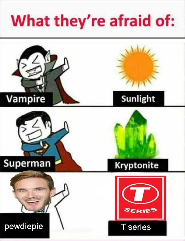 Image result for pewdiepie and t series memes