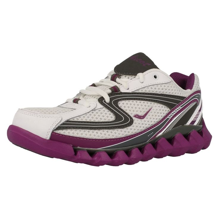 """Ladies Ascot White/Grey/Purple Trainers """"Spring Wave""""/As008-L"""