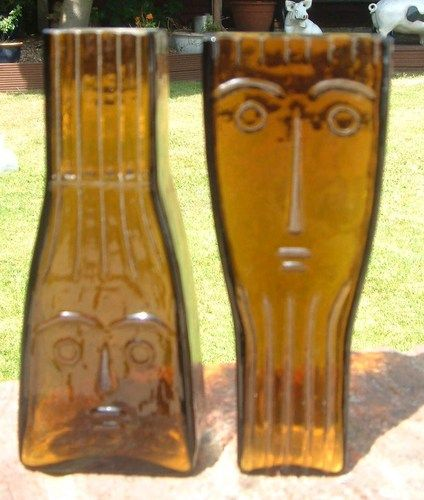 SUPERB WIKTOR BERNDT FLYGSFORS RETRO 1960'S PAIR AMBER ART GLASS FACE VASES