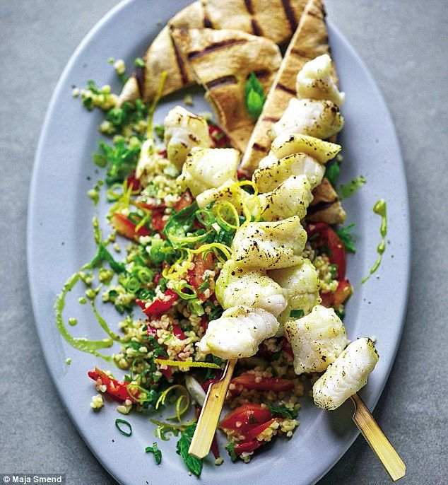 Monkfish Kebabs with Tabbouleh - get recipe here: http://www.dailymail.co.uk/home/you/article-3631122/Joe-Wicks-Lean-15-two-Monkfish-kebabs-tabbouleh.html
