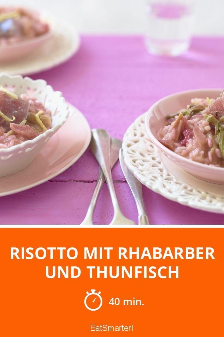 Risotto mit Rhabarber und Thunfisch