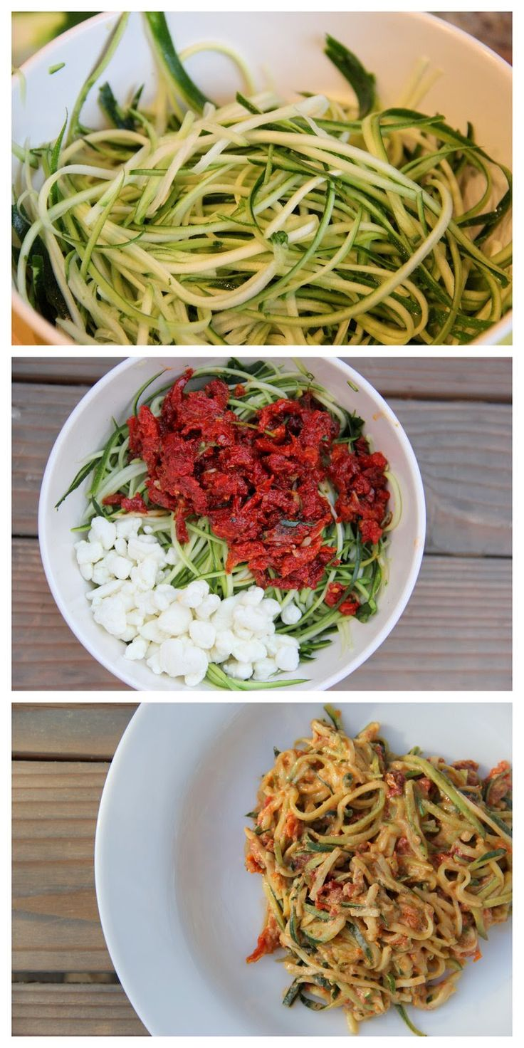 Zucchini Spaghetti with sun dried tomatoes and goat cheese
