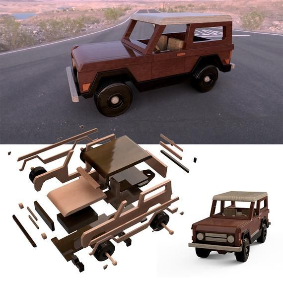 Wood Toy Plan 1963 Ford Bronco Trailered Mud Truck Image 4 With