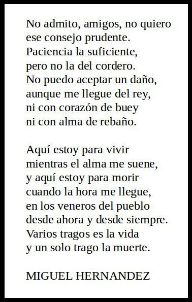 Ni con alma de cordero de Miguel Hernandez
