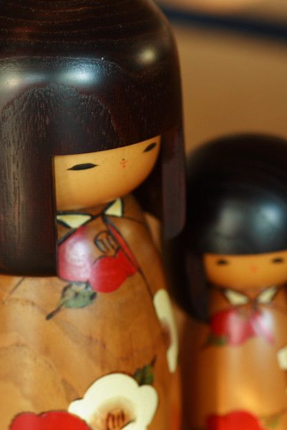 Mother and Daughter Kokeshi dolls.
