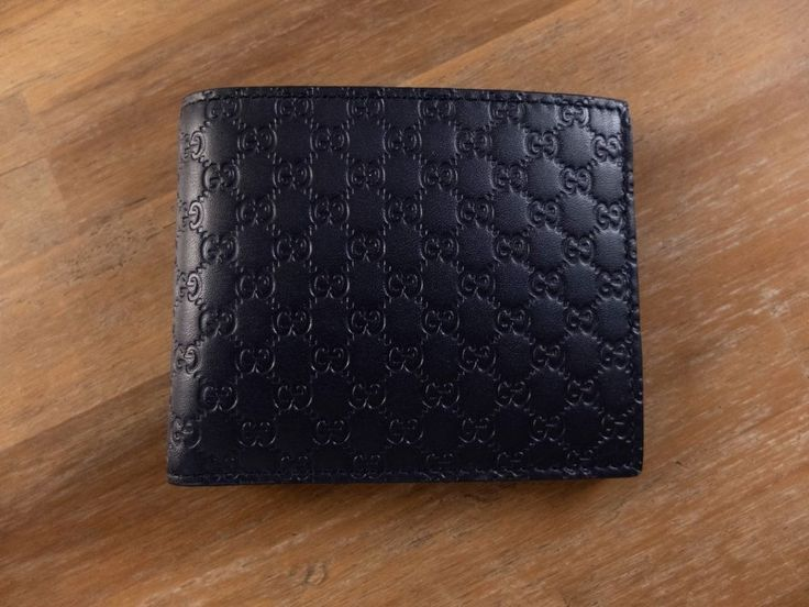 6b595e81a46e49 leather bifold wallet Ideas GUCCI dark blue Guccissima Web leather bifold  wallet authentic - New in