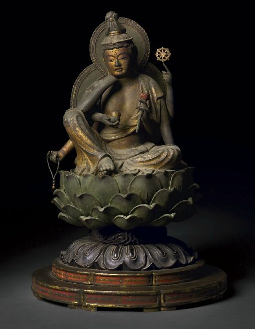 """POLYCHROME AND GILDED WOOD FIGURE OF NYOIRIN KANNON, """"THE BODHISATTVA WHO GRANTS DESIRES"""" - JAPAN, KAMAKURA PERIOD, WITH DOCUMENTATION DATED 1304 CE"""