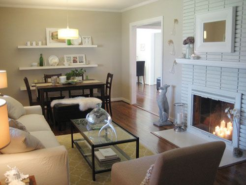 How To Paint A Brick Fireplace: Dining Rooms, Dining Area, Fireplaces Design, Living Rooms, Floating Shelves, Brick Fireplaces, Paintings Fireplaces, Small Spaces, Dining Tables