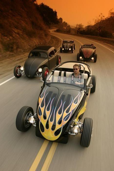 Custom old-school VW Beetles, Volks Volkswagen bug bugs convertible topless fenders lowered