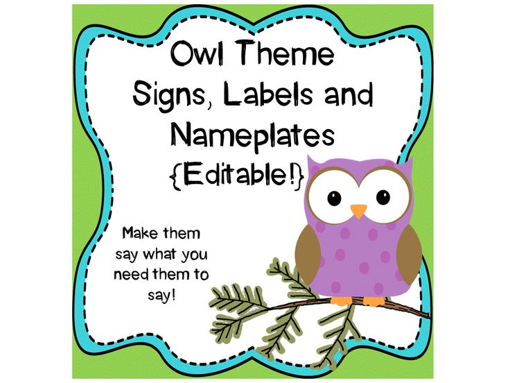 Owl Theme Signs, Binder Covers, Labels and Nameplates ... Organized Student Binder