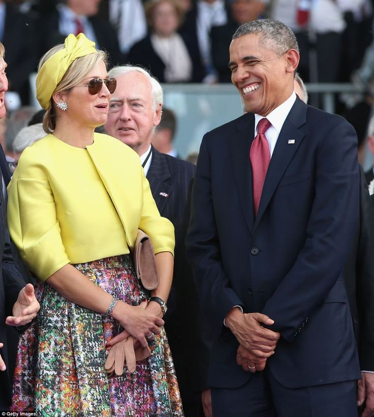 Ceremony: Meanwhile, president Obama shared a laugh with Queen Maxima of Holland during an event on Sword Beach