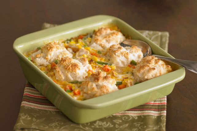 Prepare this chicken and biscuits recipe for a tasty mix of chicken, veggies and biscuits. Our chicken and biscuits recipe will please the whole family!