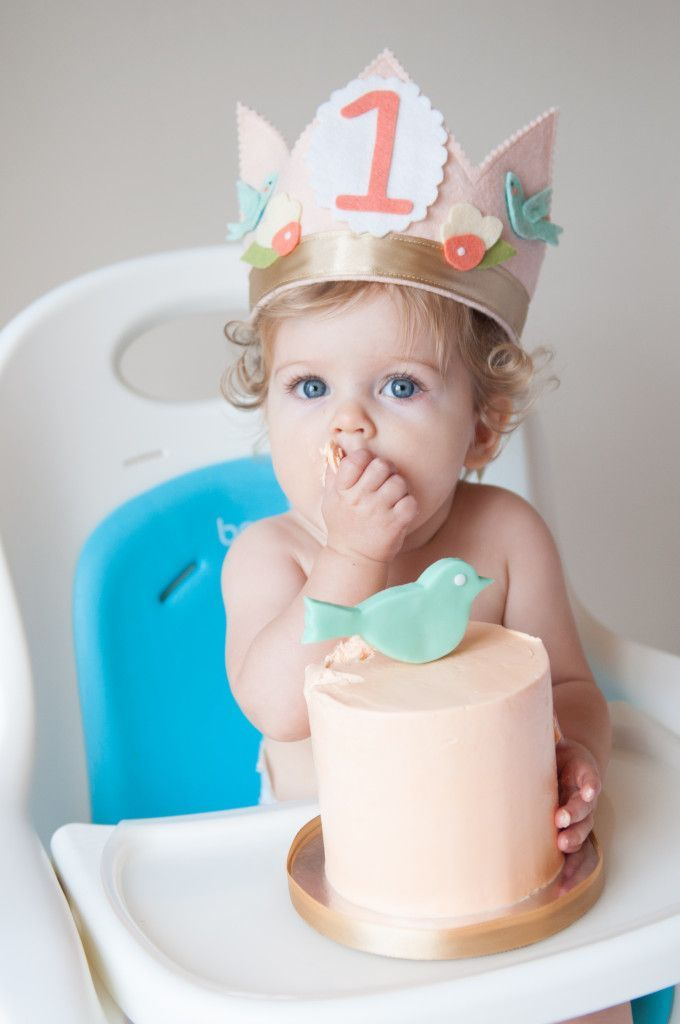 """""""A LittleBirdie"""" First Birthday Party - super-sweet decor and how precious is this birthday crown and cake?!"""