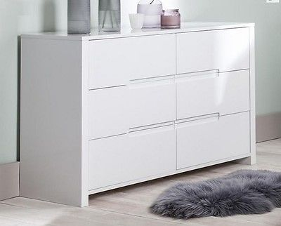 Modena-Large-Wide-White-Gloss-6-Drawer-Dresser-Sideboard-Chest-of-Drawers