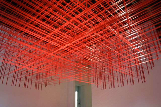 """This art installation called """"Rip and Pull"""" by Brooklyn based artist Rebecca Ward is made of #red #electrical #tape."""