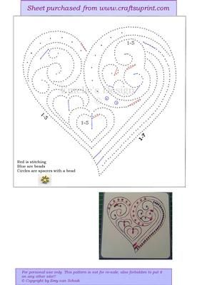 ED137 Valentine heart on Craftsuprint designed by Emy van Schaik - Stitching with beads - Now available for download!