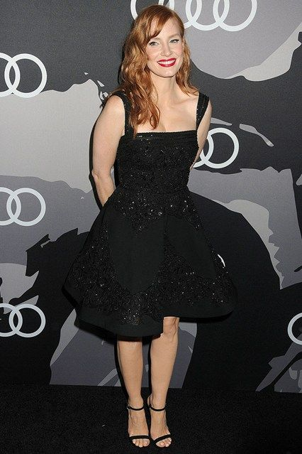 Best dressed - Jessica Chastain in an Elie Sab black dress. Click through to see who joins her in this week's best dressed list.