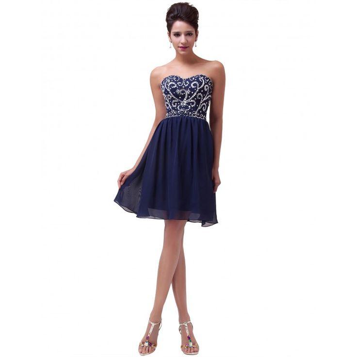 Tmavomodré spoločenské šaty CL6049