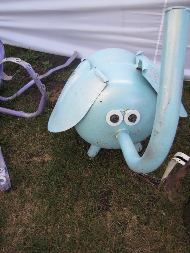 elephant made from propane tank, and trampoline parts :)