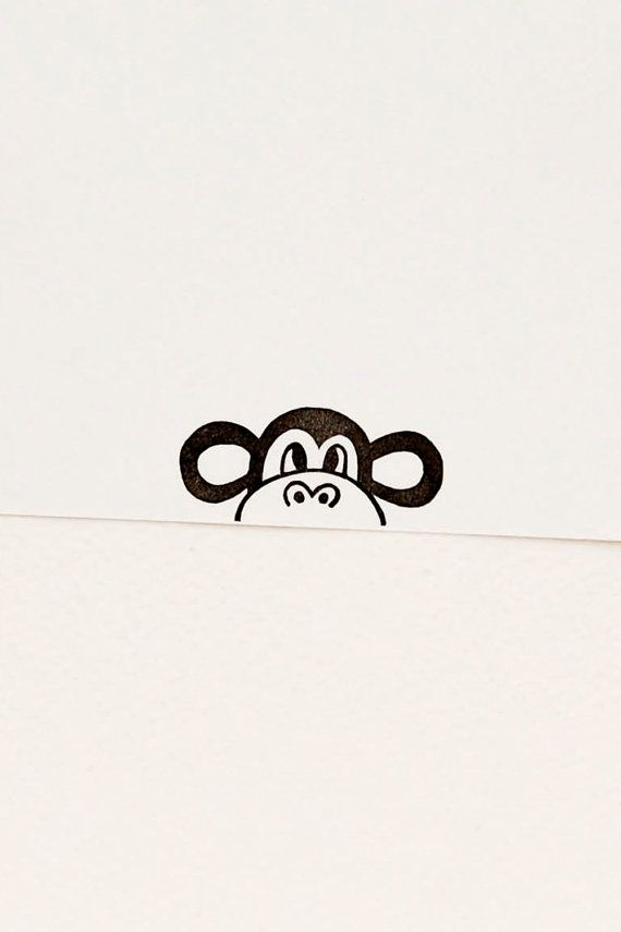 Monkey stamp, peekaboo stamp, monkey gift, bullet journal stamp, cute stamps, hand carved stamp, animal rubber stamps, stocking stuffer