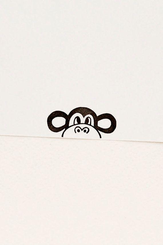 Skew Monkey peekaboo stamp Non-mounted hand by WoodlandTale
