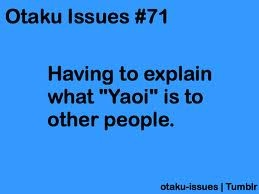 I prefer shounen-ai over yaoi. Sorry, I prefer not to my anime character's naked lower half. But, yeah. It's always awkward to explain both. It becomes even more awkward when people ask if you're a fan of it.