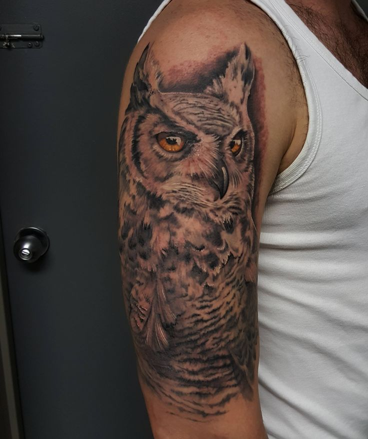 Great Horned Owl Black And Grey Tattoo 10 best Arm pieces by ...