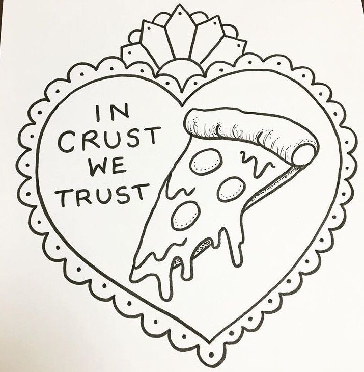 Pizza tattoo design by Maddie Cade @mcadeart