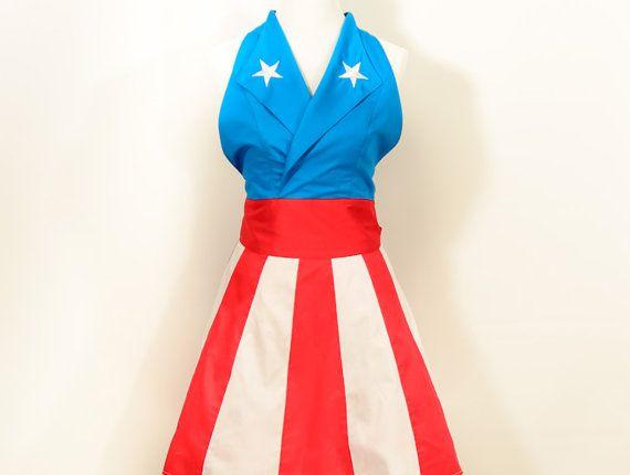 Captain America Apron, captain america costume, cosplay, nerd, christmas gift, pinup, geek chic, superhero, halloween, halloween costumes