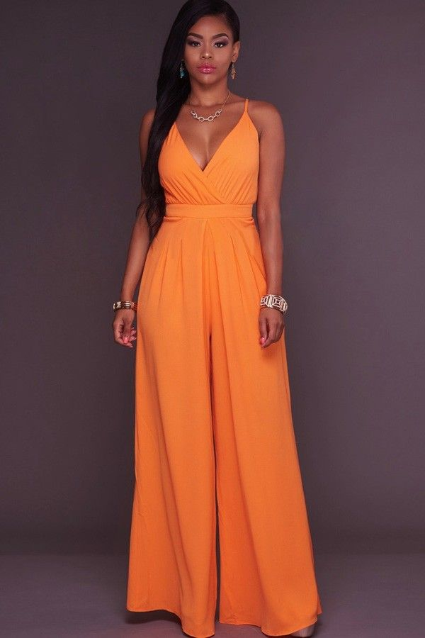 e46d1d94069b Orange Plunging V Neck Spaghetti Straps Sexy Wide Leg Jumpsuit   Sexy  Rompers And Jumpsuits For Women-Strapless Jumpsuit