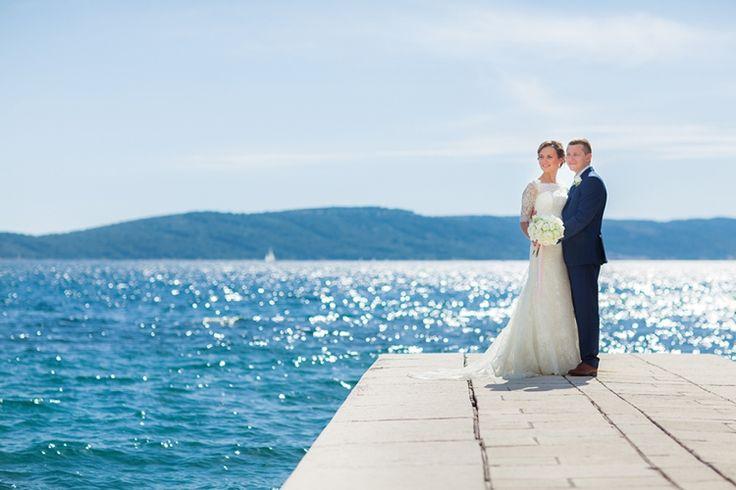 Sparkling Turquoise Waters: Croatia Destination Wedding   Happy viewing of the sensational turquoise sea. Photographer: Philip Andrukhovich. Wedding Venue: Villa Dalmacija.  #Croatia #sea #turquoise #blue #DestinationWedding