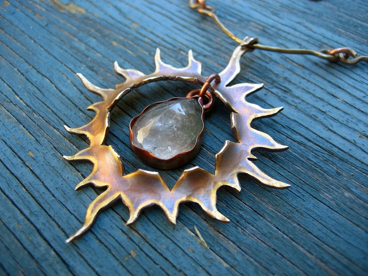 Sun Necklace, Fire Opal, Golden Antique Patina, Vibrational Jewelry for Power, Strength, Energy, Clarity, MADE TO ORDER. $149.00, via Etsy.