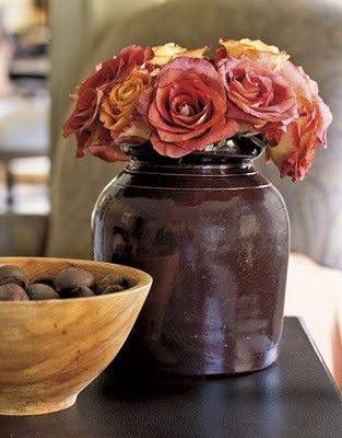 Beautiful Color Of RosesFall Floral, Earth Tone, Vintage Pottery, Fall Decor, Flower Arrangements, Fresh Flower, Floral Arrangements, Fall Flower, Nature Beautiful