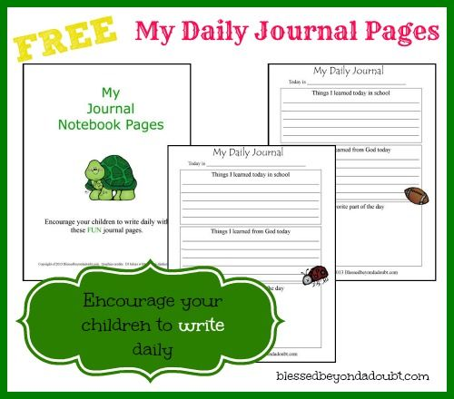 Keep Your Children Writing Daily – FREE Journal Pages!