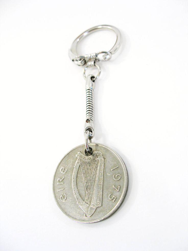 1975 Ireland Coin Fishermens Key chain/keyring-10 Pence Irish Key Fob by BridgetFainne on Etsy