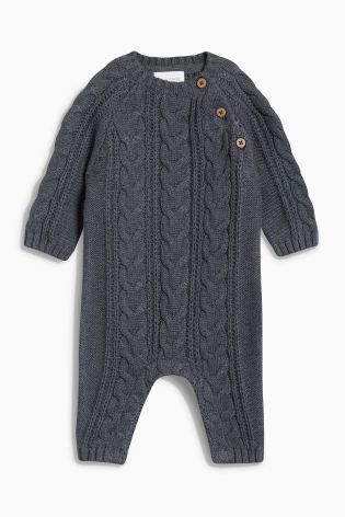 5ebcddbc64cf Grey Cable Knitted Romper (0mths-2yrs)