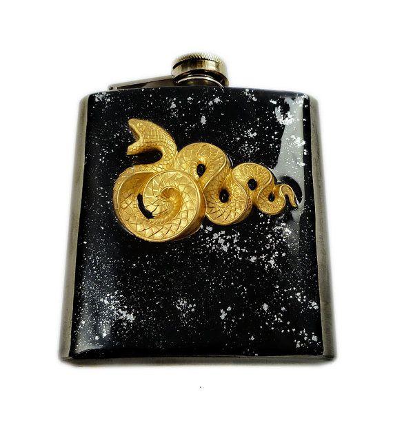 Metal Flask Steampunk Snake Neo Victorian by EdwardianRenaissance, $55.00