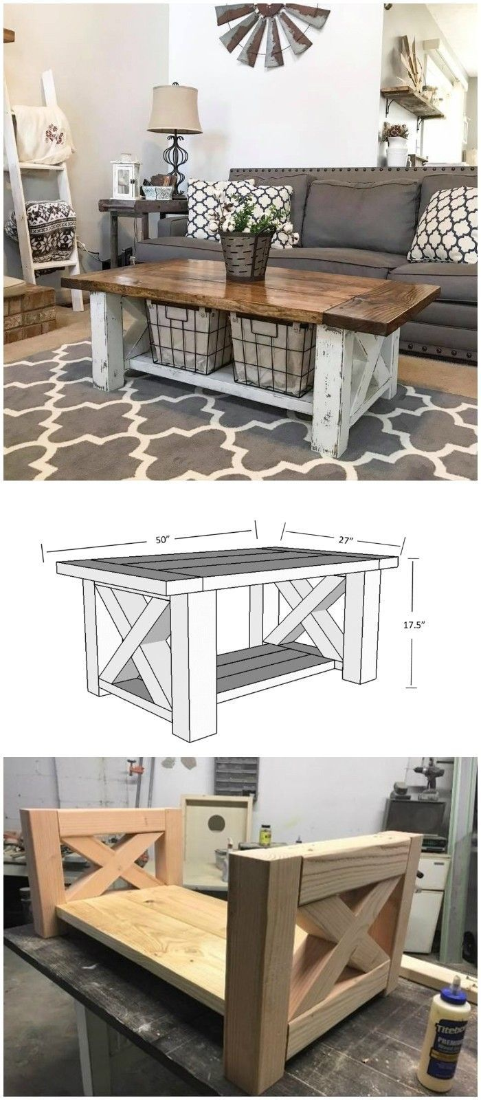 DIY farmhouse coffee table ideas from cute cubes to industrial wooden bobbins. se