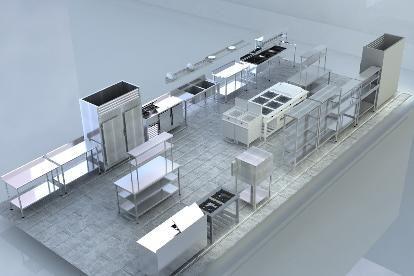 Planos de cocinas de restaurantes 3d buscar con google for Plano de una cocina profesional