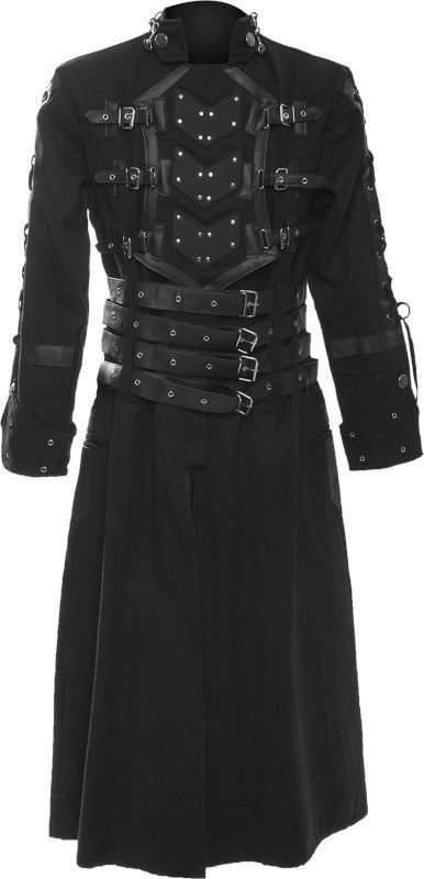 Raven SDL gothic men´s coat with buckles Steampunk gothic jacket onesize