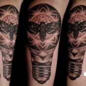 Moth in a lightbulb tattoo by David Rudzinksi