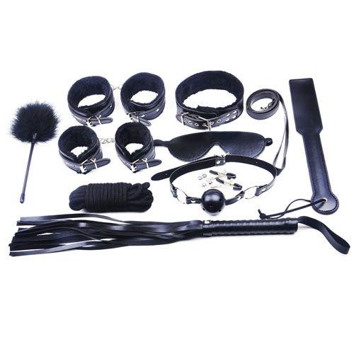 10 Piece Black Fur Bondage Kit