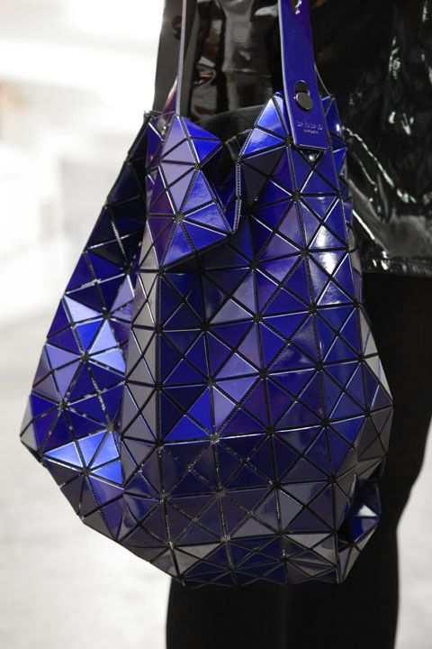 Issey Miyake. Yves Klein blue, geometric shapes. This is why you need more than one bag!