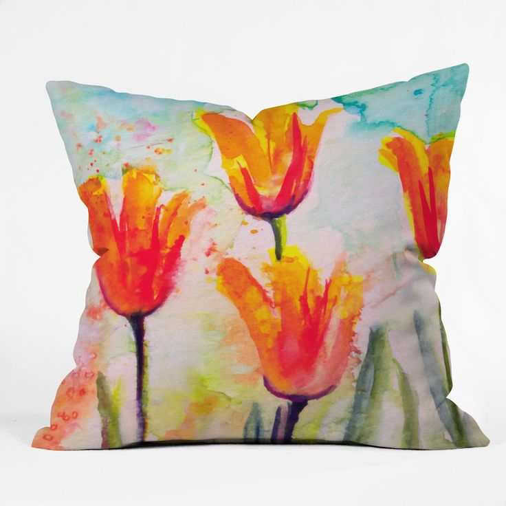 Ginette Fine Art Tulips Bells Of Spring Throw Pillow | DENY Designs Home Accessories