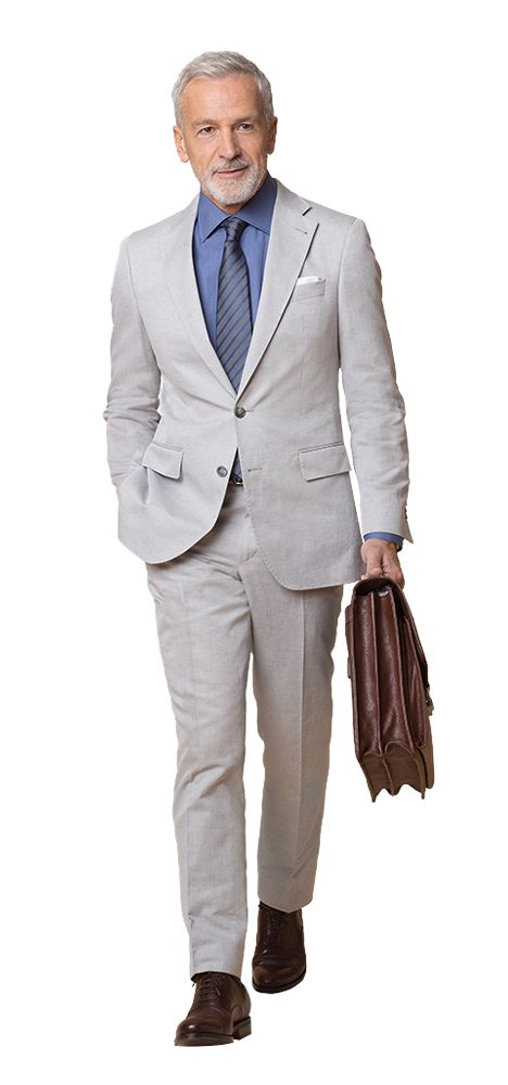 DOLZER Herren Anzug hellgrauer Anzug aus Baumwolle und Leinen Business