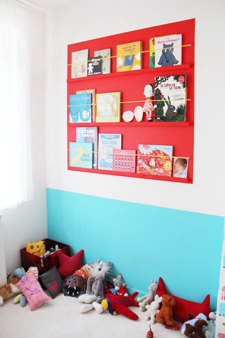 Colorful library. Red and turquoise compliment each other.