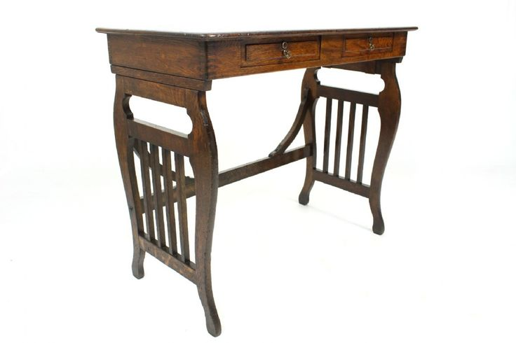 Antique Oak Lyre End Table with Drawers