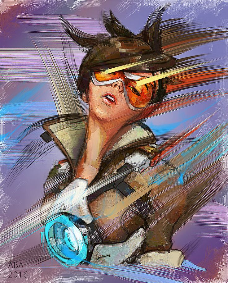 Tracer, Aleksei Batuev on ArtStation at https://www.artstation.com/artwork/1BLaX  Tracer Fanart Overwatch art graphics drawing illustration picture brushstroke