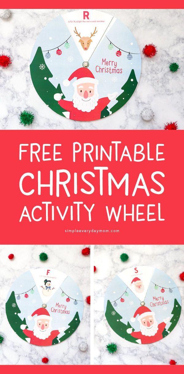 Free Printable Christmas Activity Wheel For Kids   Christmas ...